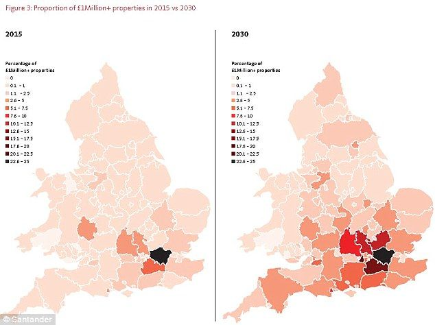 By 2030, the number of homes worth at least £1million is predicted to have tripled to 1.6 ...
