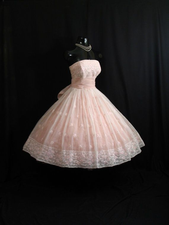 Vintage 1950's 50s STRAPLESS Will Steinman Pink Embroidered CHIFFON Organza Party Prom Wedding Dress Gown