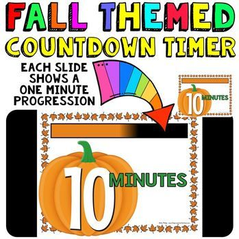 Classroom Timer: This is a fun countdown timer that has a pumpkin theme for fall. It can be used any time during the fall season. Countdown timers can be helpful for activities such as: timed math tests, game time, center rotations, working with a partner, turn and talk times, sustained silent reading, brainstorming time, and more. Find my other