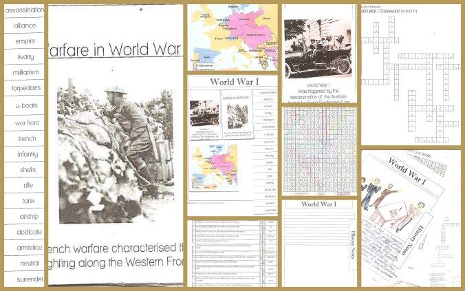 FREE World War I Printables-one page minibooks 10 pages include the 2 minibooks, vocabulary minibook and puzzles World War I Notebook includes 3 notebook pages