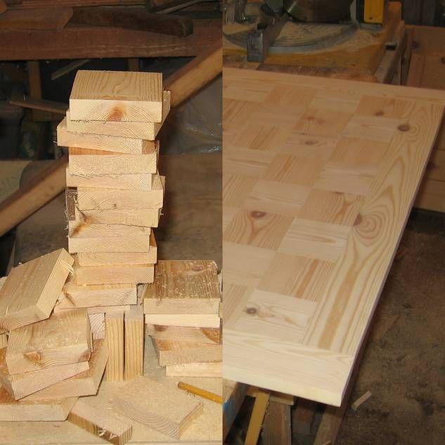 Tisch aus Holzresten: Einzelteile der Tischplatte
