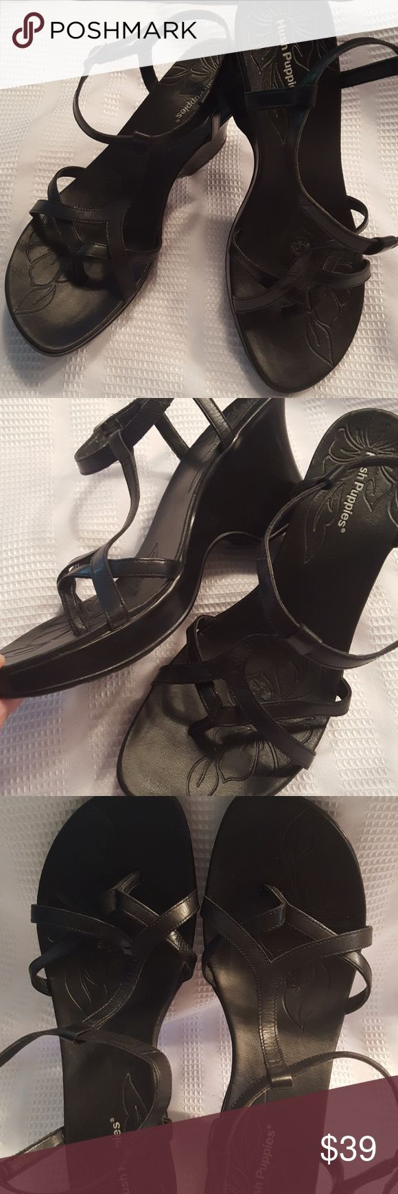 SALE 🔴 Hush Puppies Black Strappy Sandals Gently worn and very comfortable! SZ  9.5 black Strappy buckle sandals from Hush Puppies. EUC. Hush Puppies Shoes Sandals