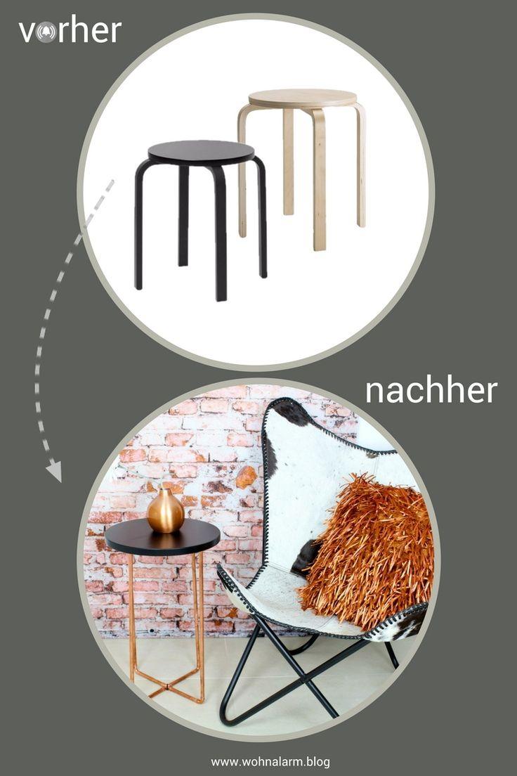 IKEA Hack! Ein einfacher Frosta Hocker wird zum echten Hingucker. Wir haben zwei verschiedene Beistelltische gemacht; einmal edel in schwarz und gold, einmal trendy mit Kupfer. Welcher gefällt dir besser?
