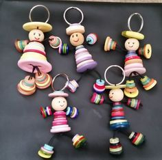 1 Button Person Keyring Handmade Gift Upcycled man lady people Mothers Day Multi in Collectables, Keyrings | eBay