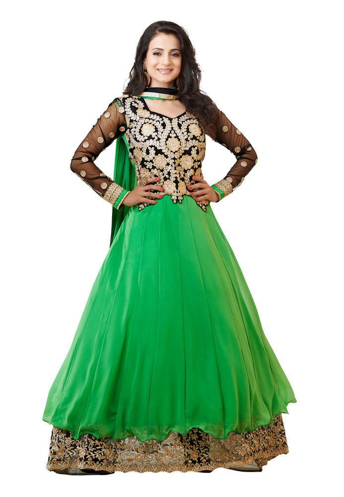Indian Designer Georgette Green Printed Salwar Kameez