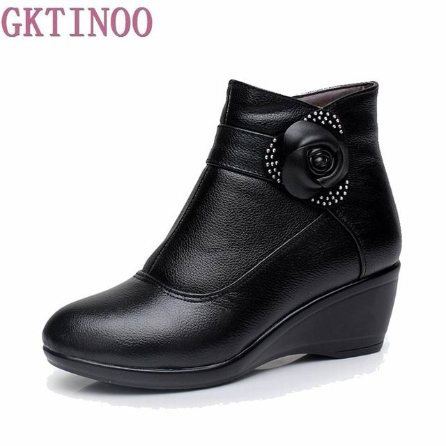 Buy now New 2017 women boots women genuine leather winter boots warm plush autumn boots winter wedge shoes woman ankle boots size 30-43 just only $31.16 - 32.63 with free shipping worldwide  #womenshoes Plese click on picture to see our special price for you