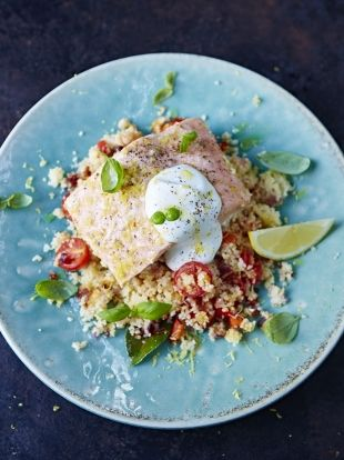 Super-speedy 1-pot steamed salmon with jeweled couscous & yogurt | Jamie Oliver