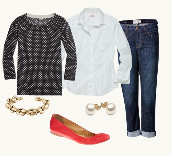 """""""Polka dots"""" by redrobin21 ❤ liked on Polyvore, reminds me i need a white shirt"""