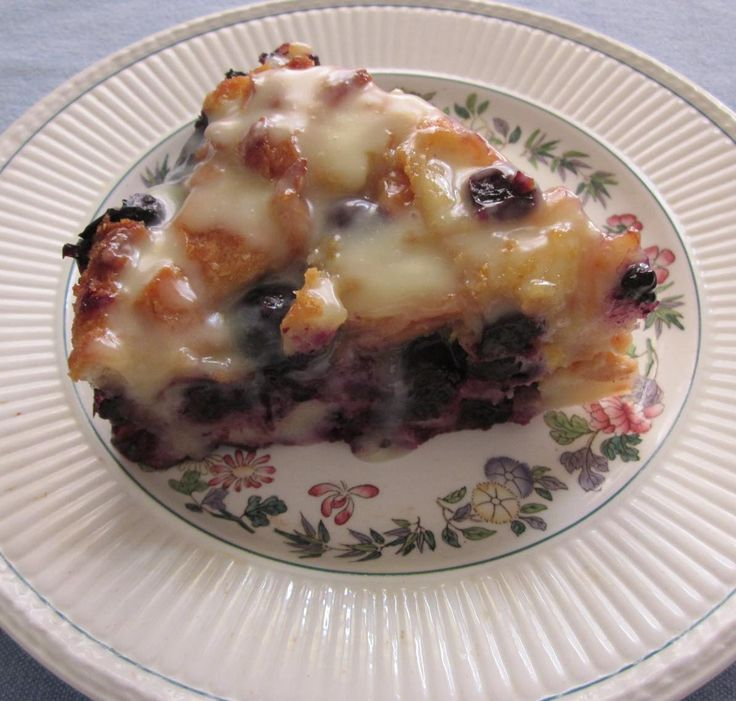 Blueberry Bread Pudding ~ Lisa Dickson of Milwaukee took first place in the 2015 Wisconsin State Fair bread pudding category with this easy blueberry pudding with white chocolate drizzle.