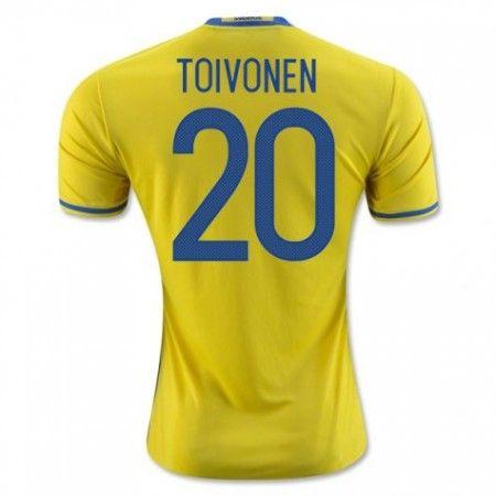 Sweden 2016 Toivonen 20 Hjemmedraktsett Kortermet.  http://www.fotballteam.com/sweden-2016-toivonen-20-hjemmedraktsett-kortermet.  #fotballdrakter