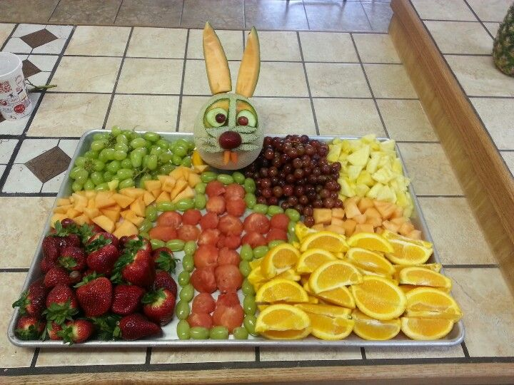 Easter bunny with cross fruit tray