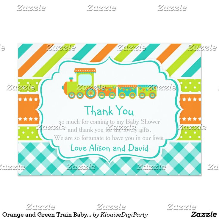 Orange and Green Train Baby Shower Thank You Card