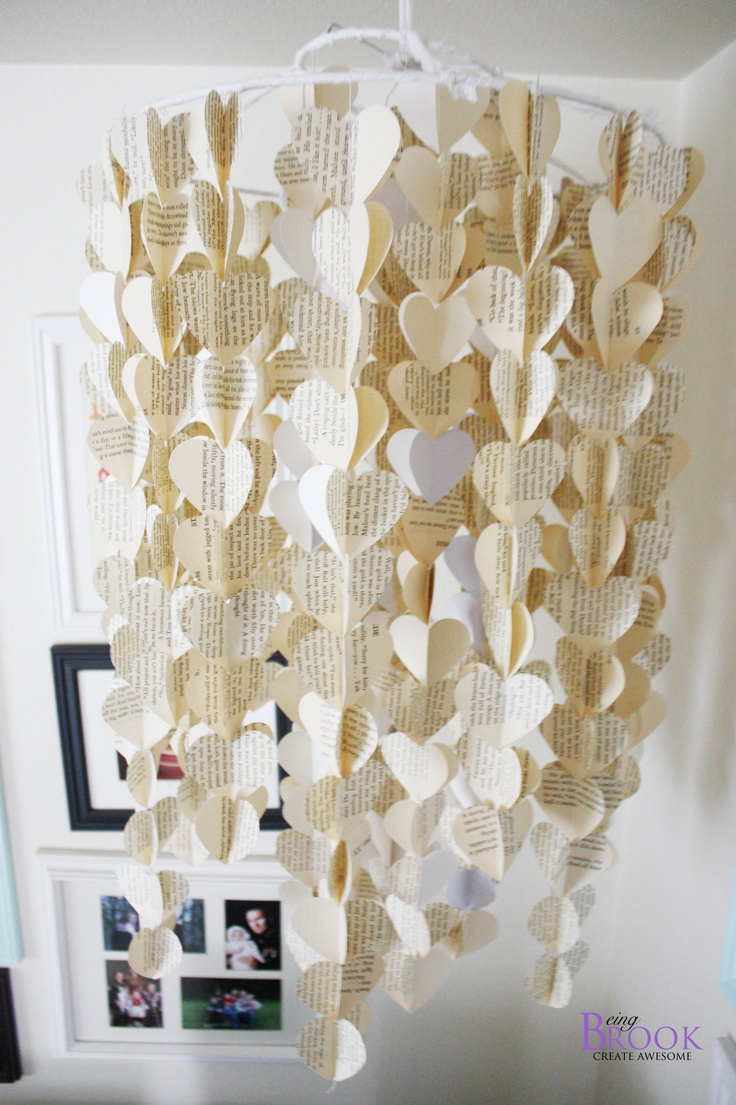 Love this! The hearts are made out of pages from a book! A great idea for college students who don't use their textbooks any longer =).