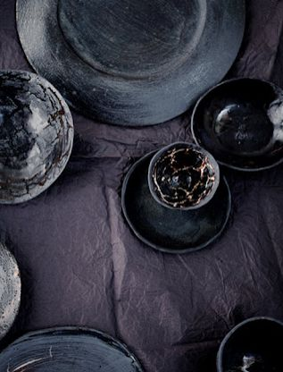made by dietlind wolf, black ceramics 2 x fired,
