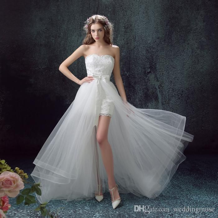 2015 Short Mini Wedding Dresses Beach Lace With Detachable Train Plus Size High Low Simple Modest Custom Made Bridal Gowns Buy Dresses Online Debenhams Wedding Dresses From Weddingmuse, $110.56| Dhgate.Com