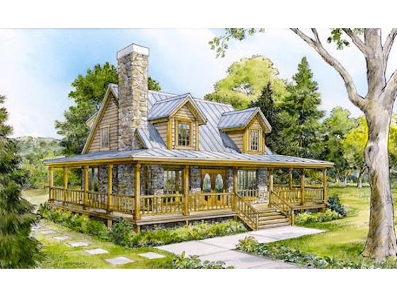 2 Story W Wrap Around Porch Plan Dream House