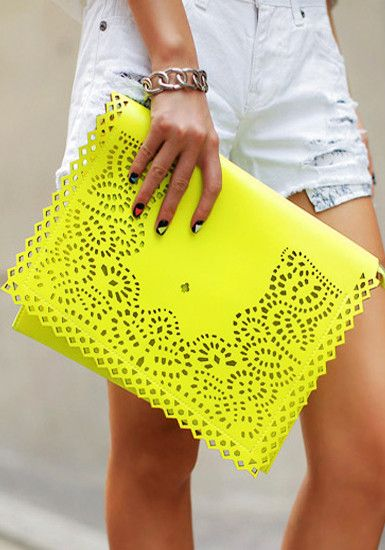 Eyelet Flap Clutch- Neon Yellow