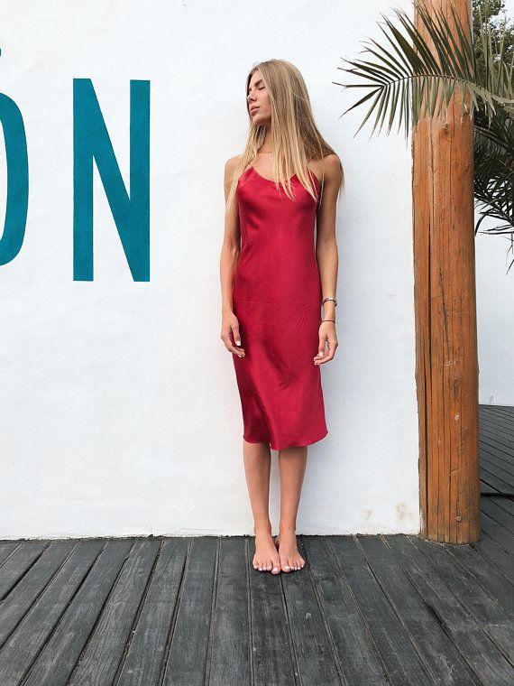 252f0dce284 Silk slip dress Silk date dress Silk gown Red silk chemise Pink camisole  Silk camisole Beautiful Gift for Her