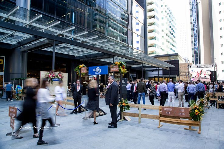DY.o events (aka Duo) Guests enter the licensed area to watch the Melbourne Cup on the big screen at Brookfield Place