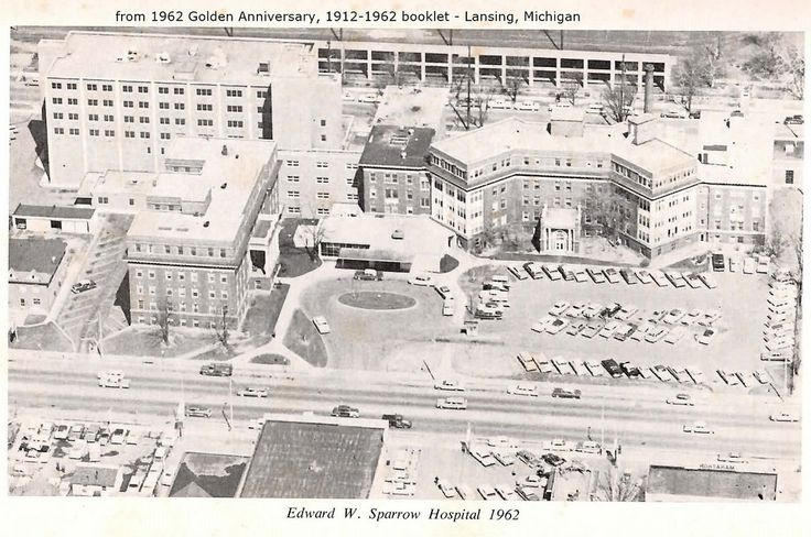 https://flic.kr/p/AL9dtD | Sparrow Hospital-aerial photo-from 1962 booklet-Lansing, MI | EPSON MFP image