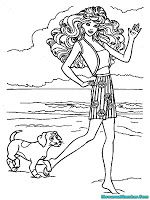 Mewarnai Gambar Barbie Berjalan Dipantai Ditemani Anjing Lucu
