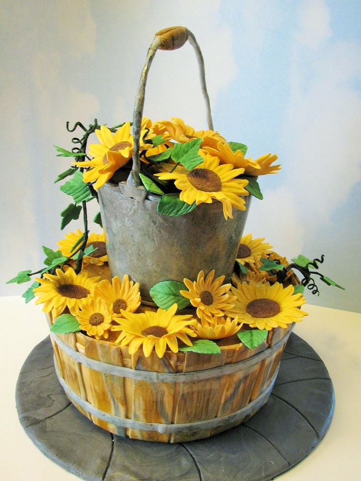 Summer Harvest Inspiration Challenge - Country wedding cake. MM fondant for bucket and basket effects. Gumpaste flowers.
