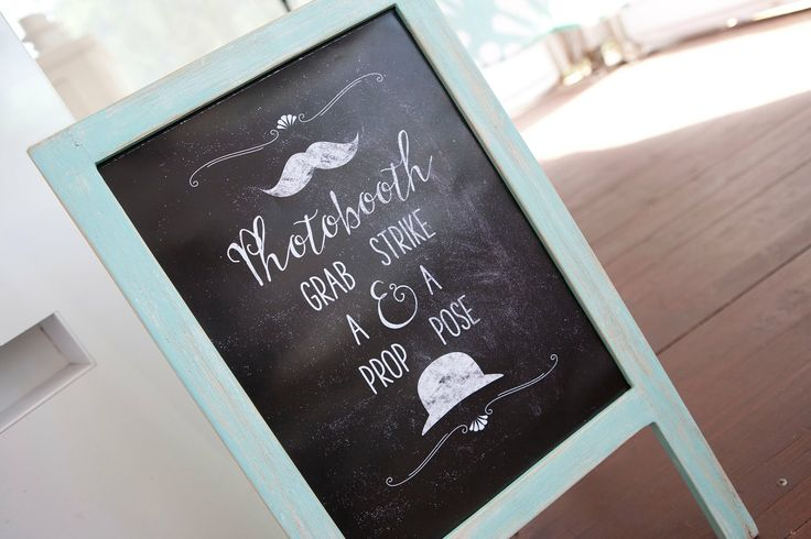 Wedding photo booth sign, vintage, blackboard, sea foam, mint