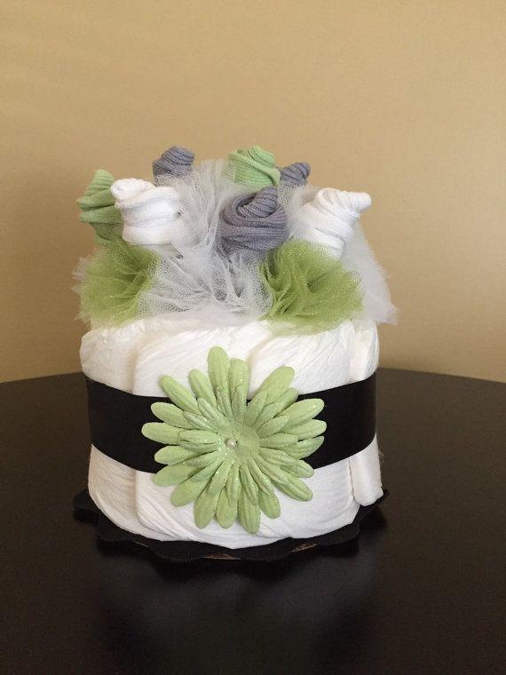 Sock Bouquet Mini Diaper Cake - Sock Roses - Baby Shower Table Centerpiece – Nursery Décor – Hospital Gift