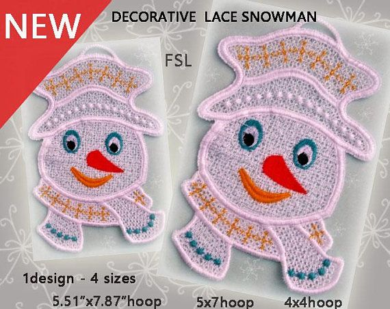 Snowman lace decoration No.410  FSL  ith