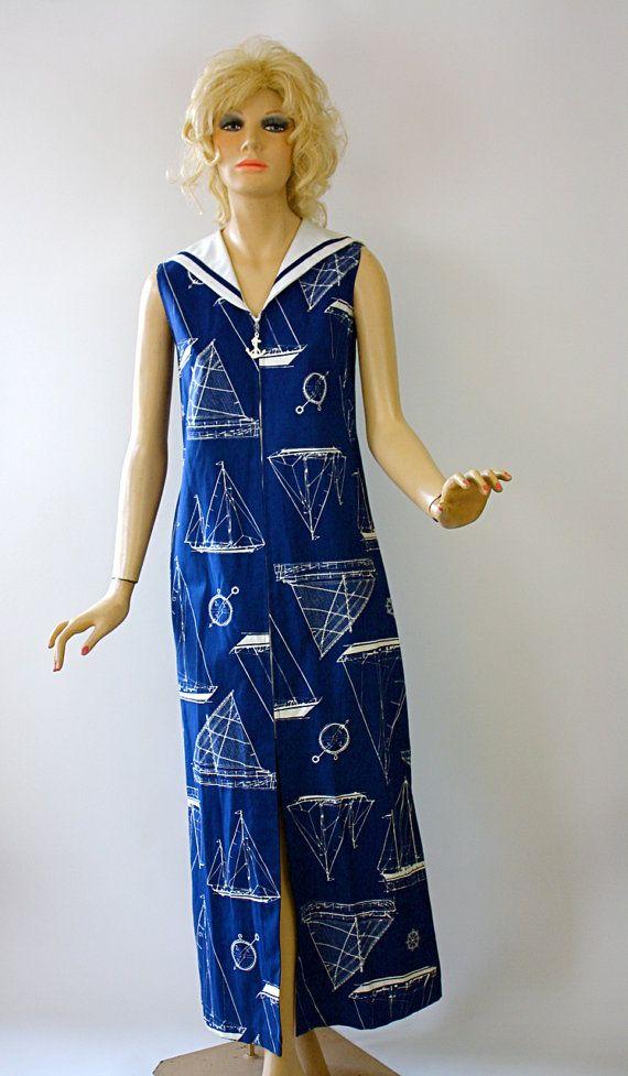 Vintage 60s Nautical Maxi Dress Navy White Cotton by jantiques, $40.00
