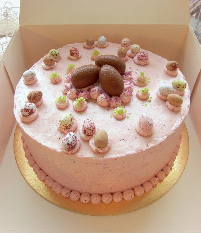Easter Cake - chocolate sponge cake with berry meringue buttercream