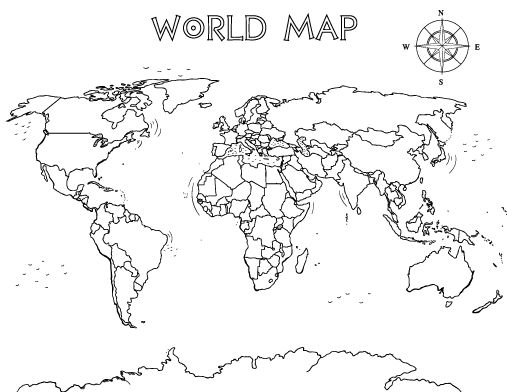 93 best Around the World images on Pinterest Activities, School - new black and white world map with continents labeled