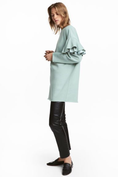 Long sweatshirt with frills - Mint green - Ladies | H&M GB 1