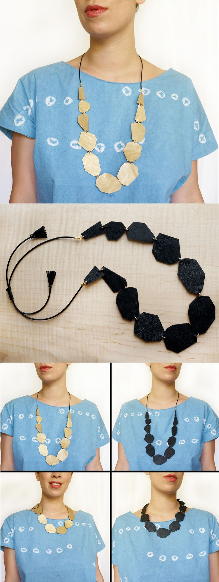 Gold & Black Reversible Leather statement necklace | Long - Short adjustable length + crafted from reclaimed leather  | Scandinazn