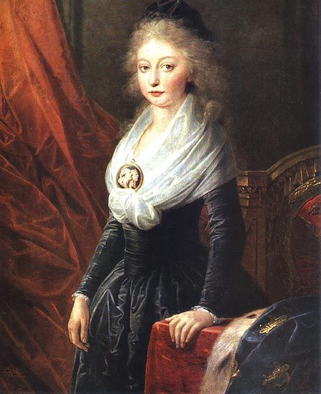 Marie Thérèse of France, oldest child of Marie Antoinette and Louis XVI. Ca. 1796 soon after her release from the Temple.The only member of her family to survive. The news of their fates was kept from her for 3 years.  She is dressed in mourning.  There is a question whether she retired from public life or was impersonated for the rest of her life by a close friend.  Her public life includes that she was the last Queen of France for 20 minutes while her husband signed the abdication papers