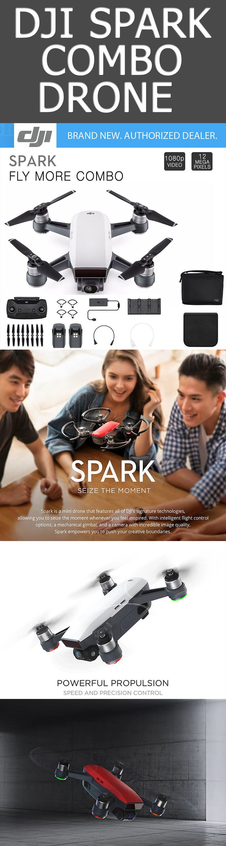 DJI Spark Quadcopter. Though agile in the air, drones can be bulky and cumbersome when on land. Not so with the Spark from DJI, which won't hold you back no matter what the adventure. This compact quadcopter features an integrated camera with motorized stabilization to capture 12MP photos, 1080p Full HD videos, and even aerial selfies. | DJI Spark Quadcopter | dji drone | drone dji | quadcopter | drone |