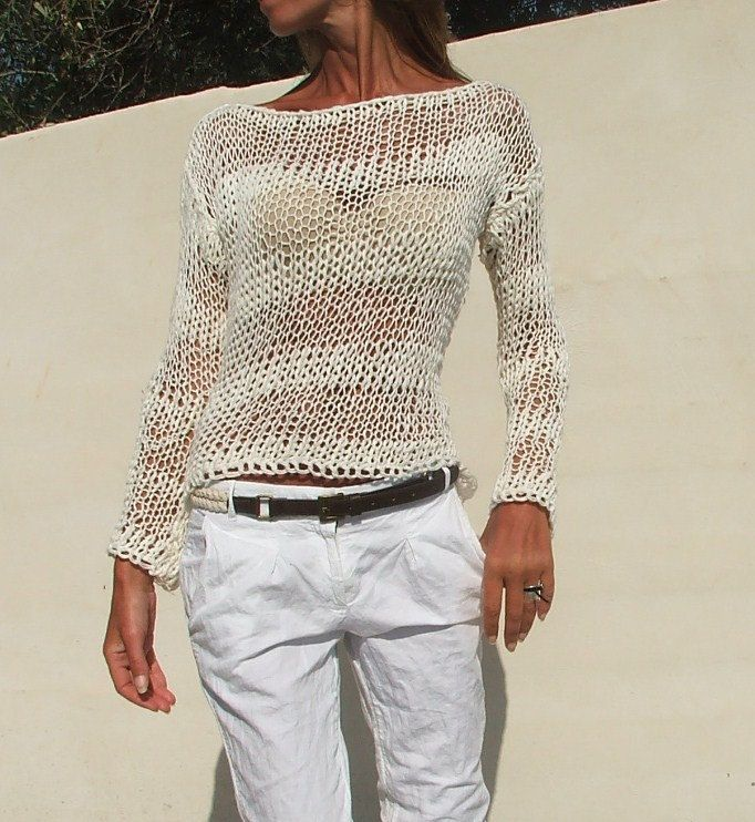white sweater / White cotton mix loose knit / summer by ileaiye