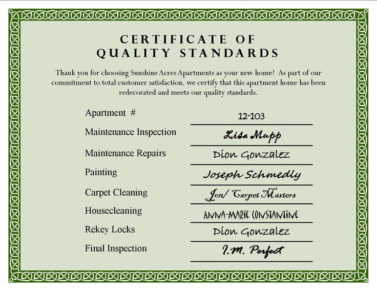 Create your own Certificate of Quality Standards and place