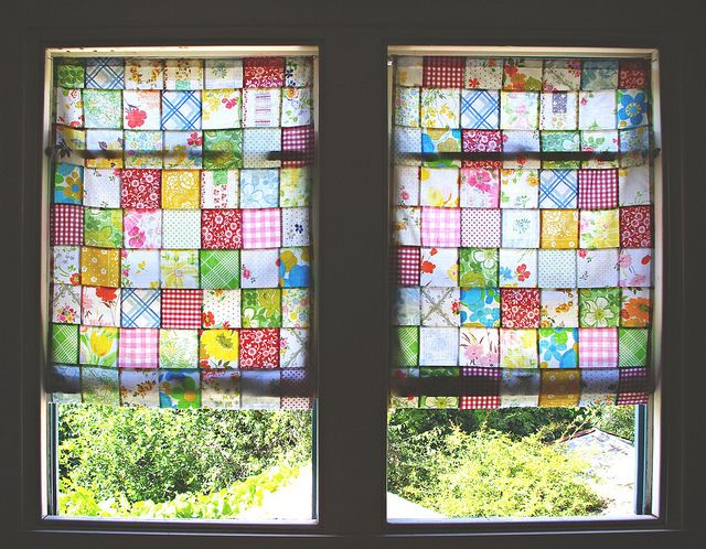 patchwork curtains.. the light coming through them is beautiful!