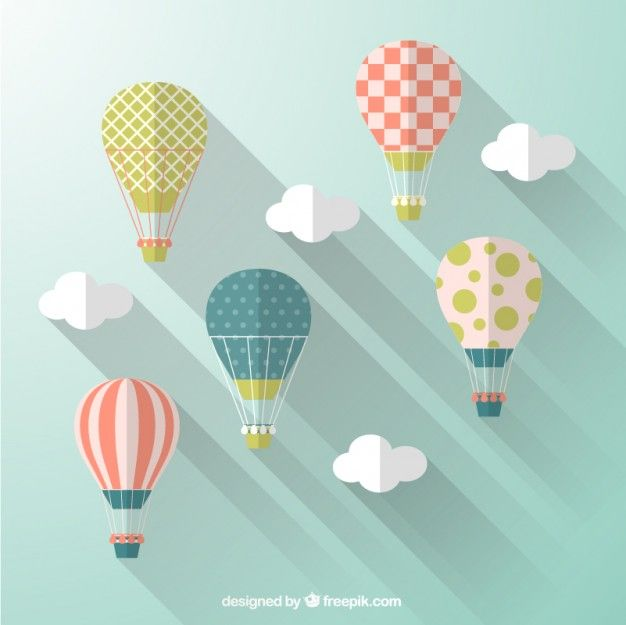 Hot air balloons in flat design style. Long Shadow