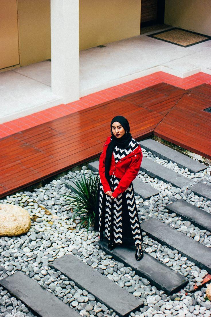 Off-the-shoulder Red Denim Jacket & Black and White Chevron Dress