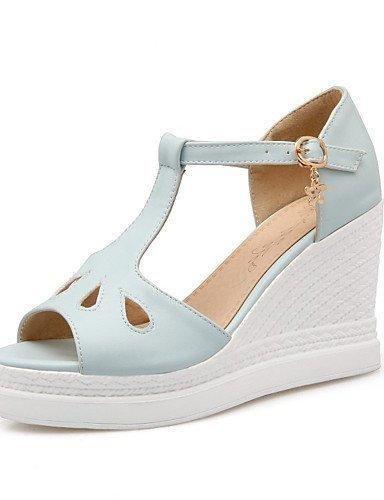 Oferta: 57.3€. Comprar Ofertas de LFNLYX Zapatos de mujer-Tacón Cuña-Cuñas / Punta Abierta-Sandalias-Vestido / Casual / Fiesta y Noche-Semicuero-Azul / Rosa / barato. ¡Mira las ofertas!