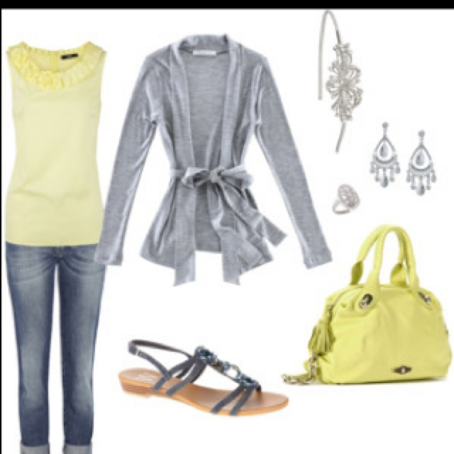 : Colors Combos, Fashion, Yellow Gray, Style, Clothing, Spring Outfit, Wear, Gray Yellow, Dreams Closets