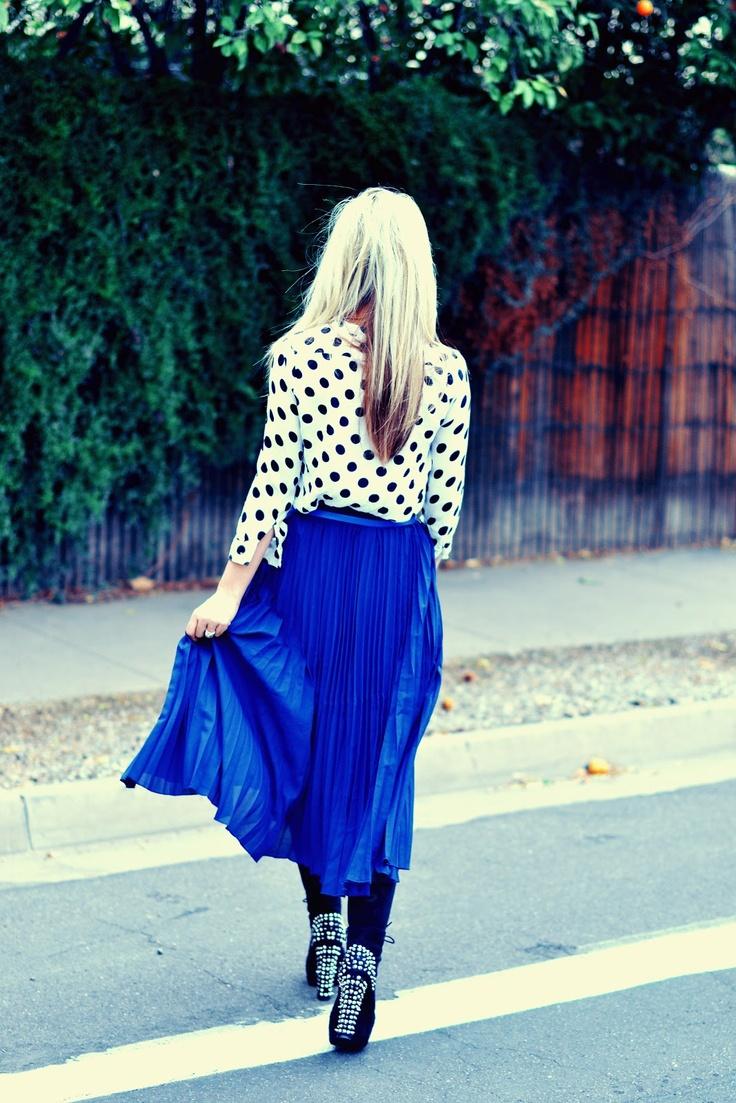 long skirt, spike boots