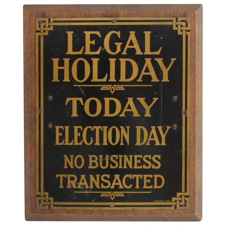 "1910s Brass Bank Sign ""Legal Holiday"" 