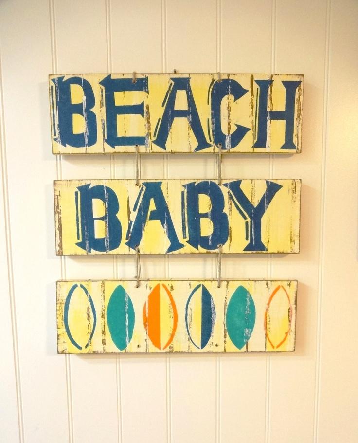Beach Baby Nautical Nursery Surf Sign by seashelldesignco on Etsy