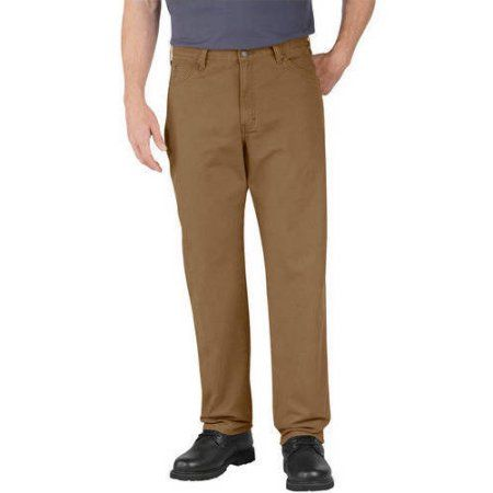 Genuine Dickies Men's Relaxed Fit Straight Leg Dungaree Jeans, Size: 32 x 30, Brown