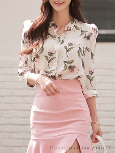Blouses - white Floral Printed Stand Collar Shirt CE79SK1700 - Womens Tops