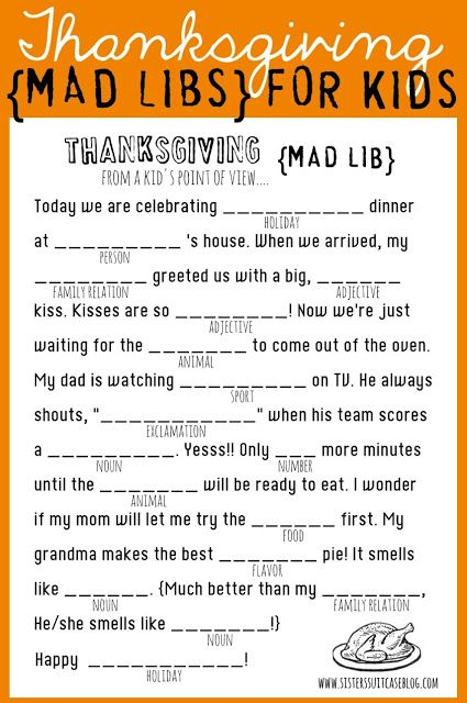 Thanksgiving Mad Libs {Printable} for kids! www.sisterssuitcaseblog.com