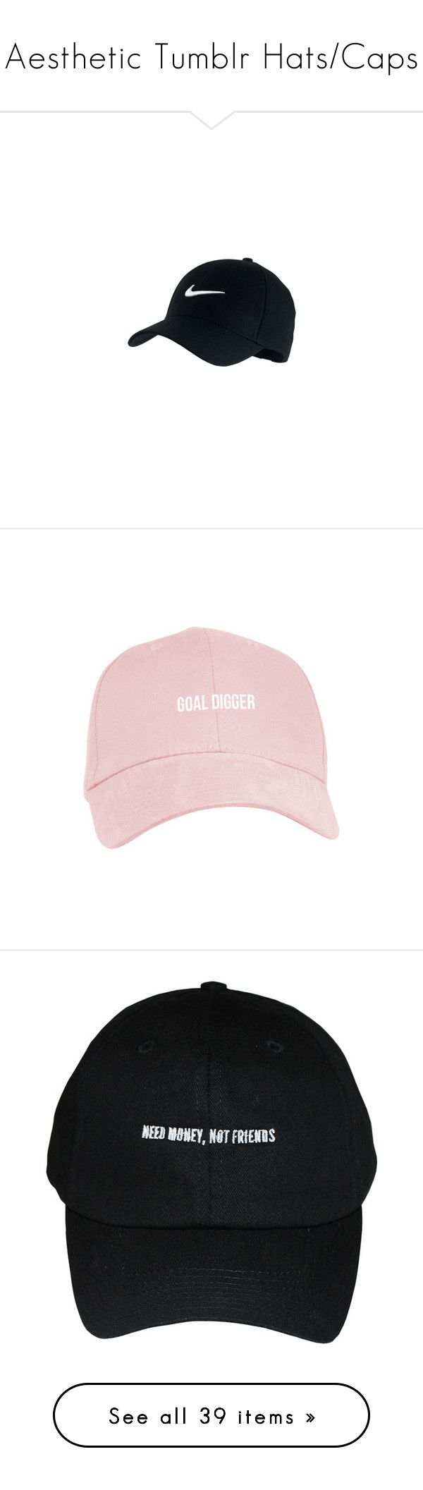 """Aesthetic Tumblr Hats/Caps"" by megsmulroy ❤ liked on Polyvore featuring accessories, hats, headwear, nike, sports cap, sports hats, sport hats, nike hat, fillers and extra"